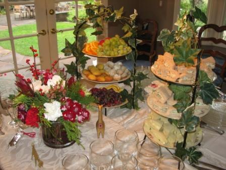 buffet table at tea party wedding